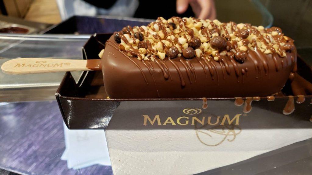 Magnum ice cream bar with milk chocolate and Callebaut crisps