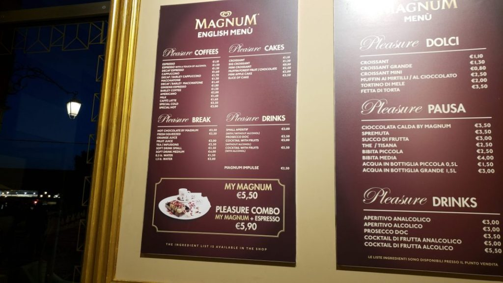 Magnum Venezia other food menu