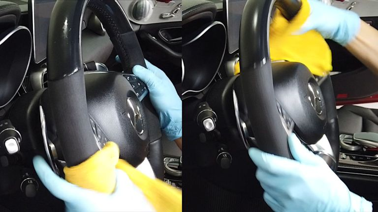 Cleaning Alcantara/Dinamica Step 3 - Wiping with damp microfiber