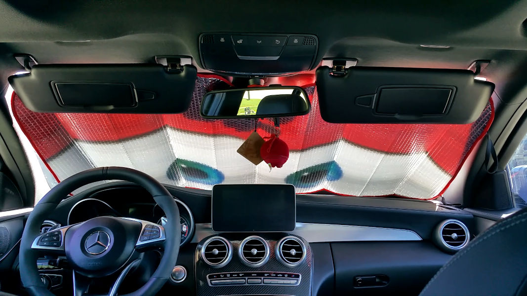Inside view of Mercedes-Benz C450 AMG Sport with sunshade