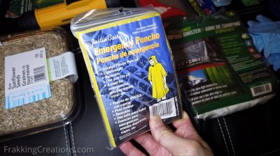 Rain poncho for car emergency kit