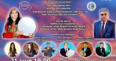 Azərbaycan Xalq Cümhuriyyətinin 100 illiyinə həsr olunmuş muğam konserti keçiriləcək
