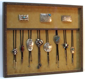 shadowbox frame for southwestern bolo tie and belt buckle collection