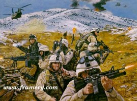 """BROTHERS IN BATTLE Coalition Task Force """"Mountain"""" in Operation Anaconda in Eastern Afghanistan, March 11-18, 2002 Image size 18 X 24"""" In stock and available Current price - $175"""