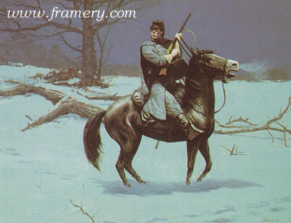 CAUGHT IN THE OPEN by Dale Gallon A lone Northern Cavalryman senses danger. Featuring the Henry magazine rifle. In stock and available Current price - $95