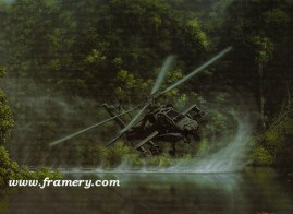"""DELIVERANCE bu Dru Blair AH-64 Apache Signed only 24 X 30"""" In stock and available - $65"""
