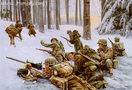 """THE DESPERATE HOURS Sgt. Lamoine """"Frank"""" Olsen and his company hold their position against the Germans during the Battle of the Bulge. Image size 18 X 25"""" In stock and available Current price - $150"""