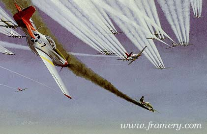 DROP TANKS, FOLLOW ME 100th Fighter Squadron TUSKEGEE AIRMEN 332nd Fighter Group 50 Year Commemorative Edition by Ric Druet Each print is countersigned by squadron members. Each set is accompanied by information on the pilots and the fighter group. Current price - Call