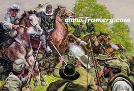 """FARNSWORTH'S CHARGE BG E. J. Farnsworth leads a charge against the 15th Alabama Infantry Image size 17"""" X 25"""" In stock and available Current price - $150"""