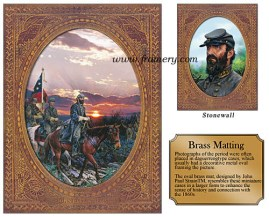 "THE LAST RIDE and STONEWALL Jackson on his final ride before being mortally wounded by his own troops. Chancellorsville, Virginia, May 2, 1863 Two Limited Edition Prints and Oval Brass Matting Image Sizes: Stonewall with mat: 5 7/8"" x 7 7/8"" The Last Ride with mat: 11 3/4"" x 15 1/2"" In stock and available Current price - $250"