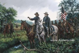 "NEW DAY AT APPOMATTOX First meeting of Lee and Grant to discuss the end of fighting and establishing peace. S/N Studio Canvas Giclées - 16.5 X 24.5"" In stock and available Current price - $275"
