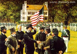 """ONE FLAG, ONE COUNTRY, ONE DESTINY Confederate graduates return to West Point, June 17, 1875. Image size 17 X 24"""" In stock and available Current price - $175"""