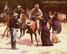 """THE PREMONITION Elizabeth Custer says goodbye to her husband. Image size 18.5 X 23"""" In stock and available Current price - $175"""