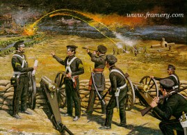 """SERVICE ON THE LINE Ordnance rocket and Howitzer battery at Vera Cruz, Mexico, March 25, 1847 Image size 17 X 23"""" In stock and available Current price $150"""
