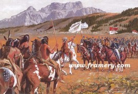 """SHOWING THE FLAG The first contact between Native Americans and the U S Cavalry, June 1834 Image size 15 X 22"""" In stock and available AP only - $200"""