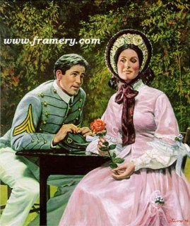 """THE SUITOR A West Point cadet courts a young lady. Image size 18 X 15"""" In stock and available Current price - $150"""