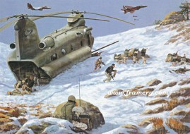 """THE BATTLE FOR TAKUR GHAR Operation Anaconda, Afghanistan, March 4, 2002 - CO A, 1st BN, 75th Ranger REGT in a firefight with Al Quaeda and Taliban forces. Image size: 18½ x 25"""" In stock and available Current price - $175"""