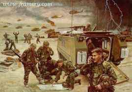 """TAWAKALNA SUNSET Col. L. D. Holder and the U. S. Army 2nd Armored Cavalry Regiment in Saudi Arabia, Feb. 26, 1991. Image size 17 X 24"""" In stock and available Current price - $125"""