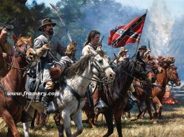 "VENGEANCE AT OKOLONA Maj. Gen. Nathan Bedford Forrest at Okolona, MS, Feb. 22 1864. Enraged by the death of his brother, Forrest charges against Federal troops. Museum Edition Canvas Giclee, 24 X 32"" Current price - $850"