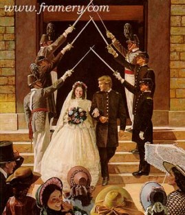 """WEDDING AT WEST POINT A couple is joined in marriage during the Civil War. Image size 23 X 18"""" In stock and available Current price - $225"""