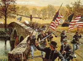 """""""WILL YOU GIVE US OUR WHISKY NOW?"""" Members of the 51st Pennsylvania take the bridge at Antietam to earn a ration of """"whisky"""" Sept. 17, 1862. Image size 18 X24"""" In stock and available Current price - $175"""