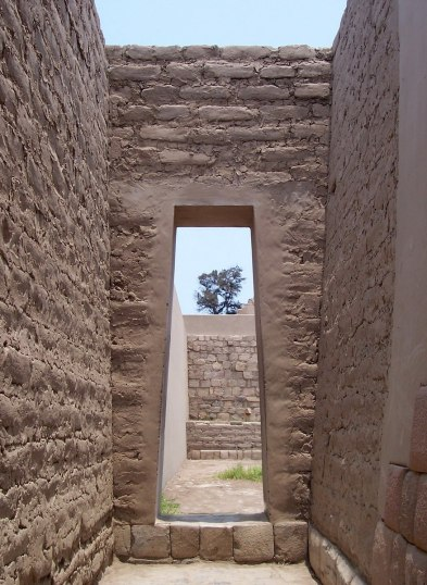 Brick archway in the Ruins of Mamcuna or Templo de la Luna at the Temple of Pachacamac ruins south of Lima, Peru, South America.