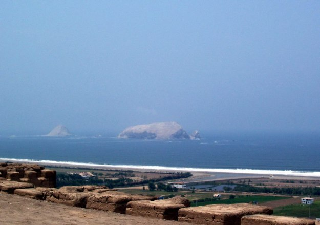 Pacific island off shore from the Temple of Pachacamac ruins near Lima, Peru, South America