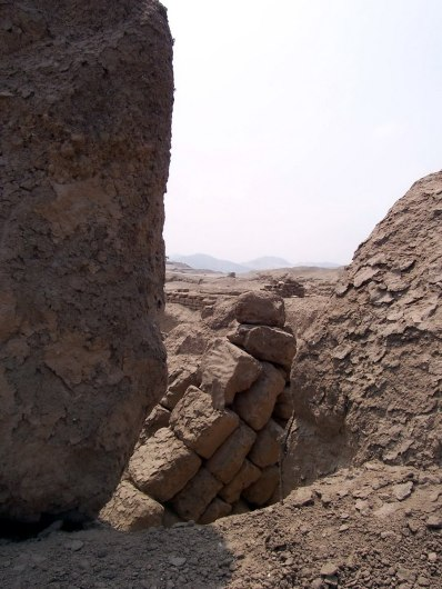 Stone and brick walls at the Temple of Pachacamac ruins south of Lima in Peru