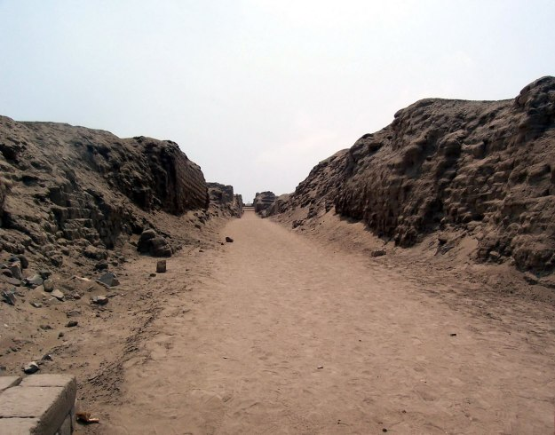 Walkway through the Temple of Pachacamac ruins near Lima, Peru, South America