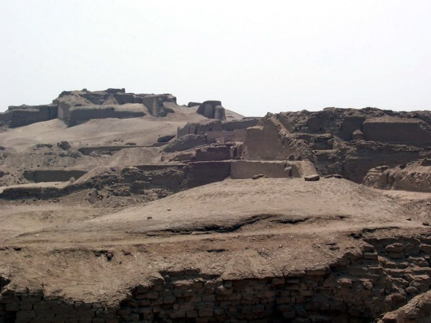 Temple of Pachacamac ruins in the desert south of Lima in Peru, South America