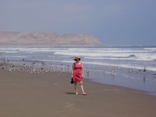 Jean on the beach at Playa Sarcpampa in Peru, South America