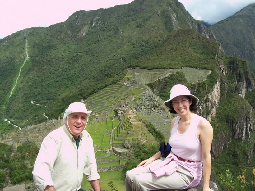 An image of Bob and Jean on top of Huchuy Picchu mountain at Machu Picchu in Urubamba Province, Peru.