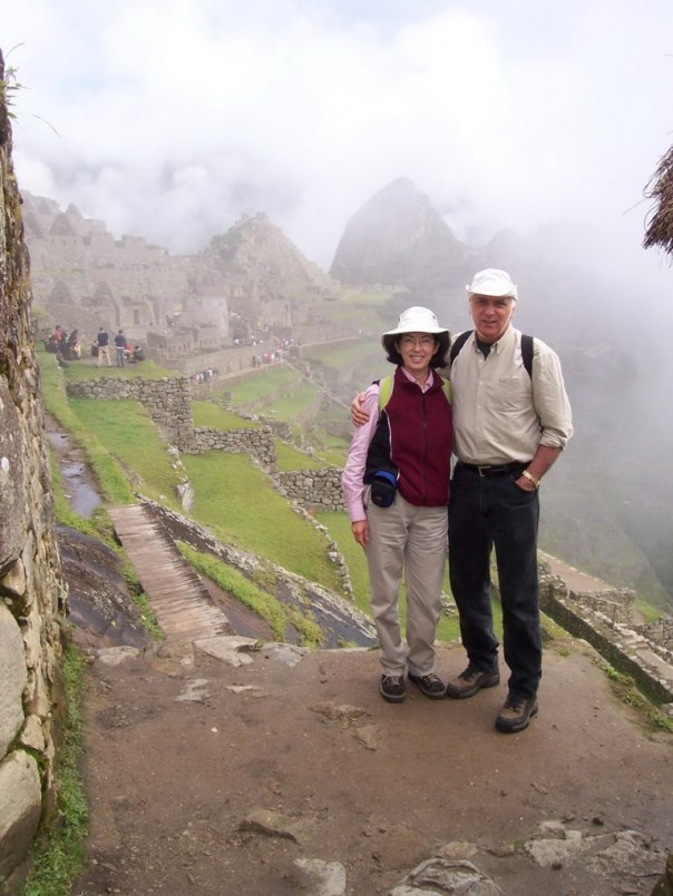 An image of Bob and Jean at Machu Picchu in Urubamba Province, Peru.