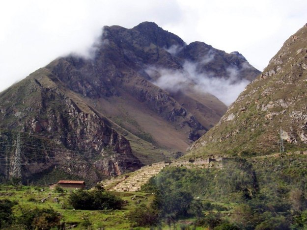 Cloudy mountain tops heading to Inca Trail, Peru