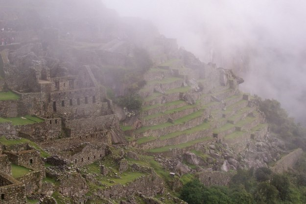 An image of foggy sky over Machu Picchu in Urubamba Province, Peru.
