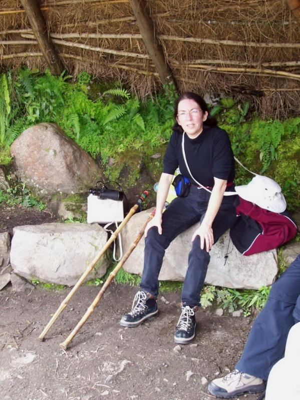 Jean at a rest stop along the Inca trail near Wiñay Wayna in Peru, South America