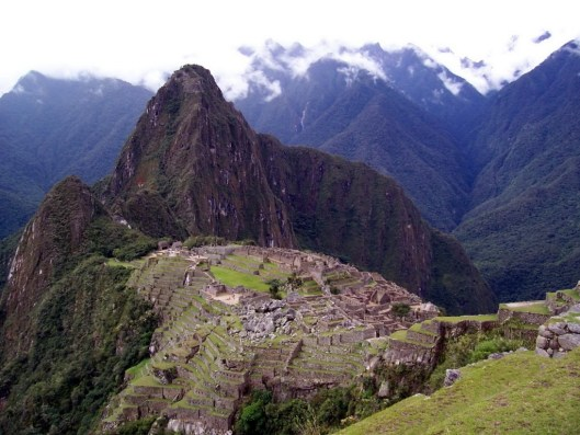 Machu Picchu on a cloudy day in Peru