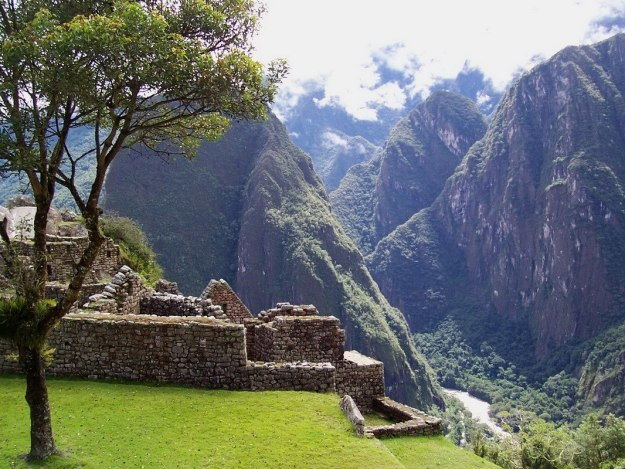 An image of the stone walls and buildings at Machu Picchu in Urubamba Province, Peru.