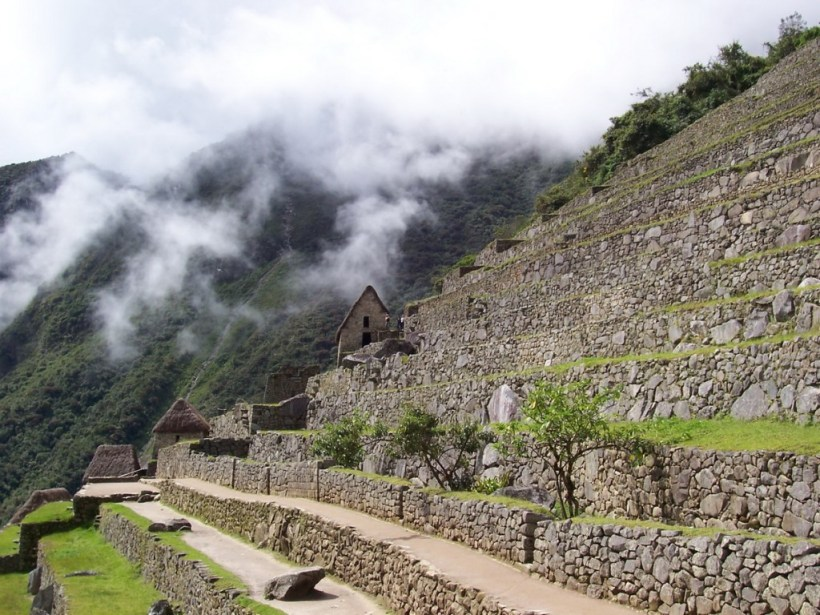 An image of the agricultural zone and stone buildings at Machu Picchu in Urubamba Province, Peru.