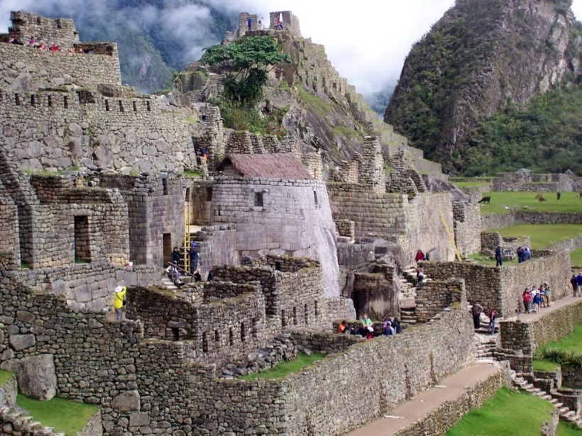 An image of the Tower of the Sun buildings at Machu Picchu in Urubamba Province, Peru.