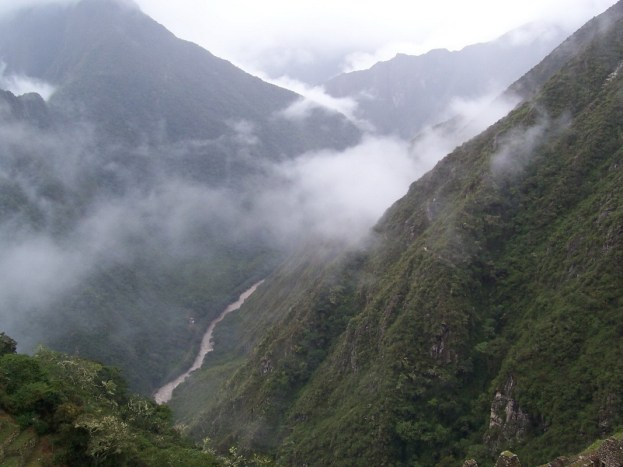 View of the Urubamba River from Wiñay Wayna on the Inca Trail in Peru, South America
