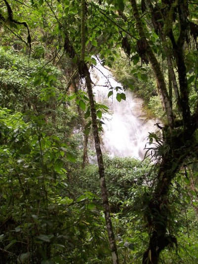 Waterfalls near the Wiñay Wayna ruins on the Inca Trail in Peru, South America