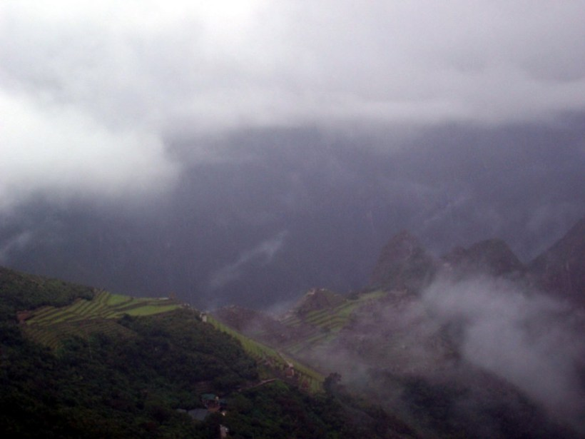 Clouds over the Wiñay Wayna ruins on the Inca Trail in Peru, South America