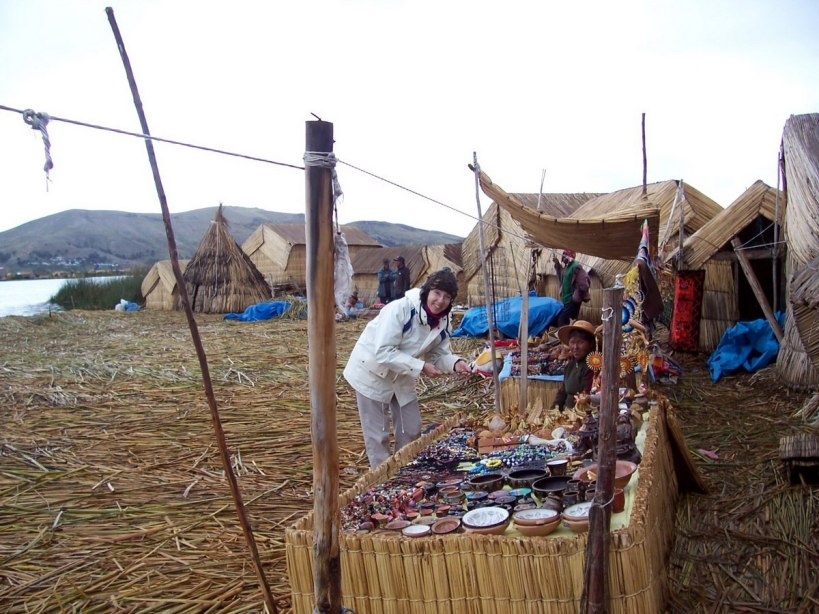 uros craft market on floating island, lake titicaca, peru