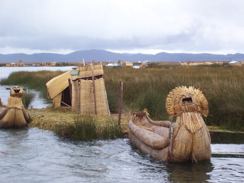 uros reed boat, floating island, lake titicaca, peru