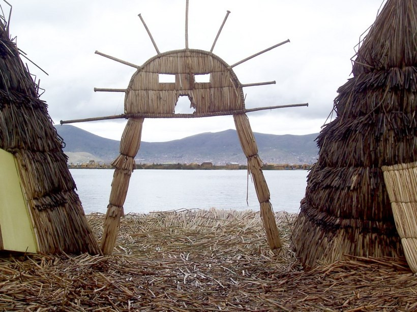 Uros Sun symbol on a floating island on Lake Titicaca in Peru, South America