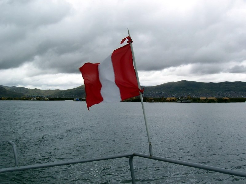 view from boat on lake titicaca, peru