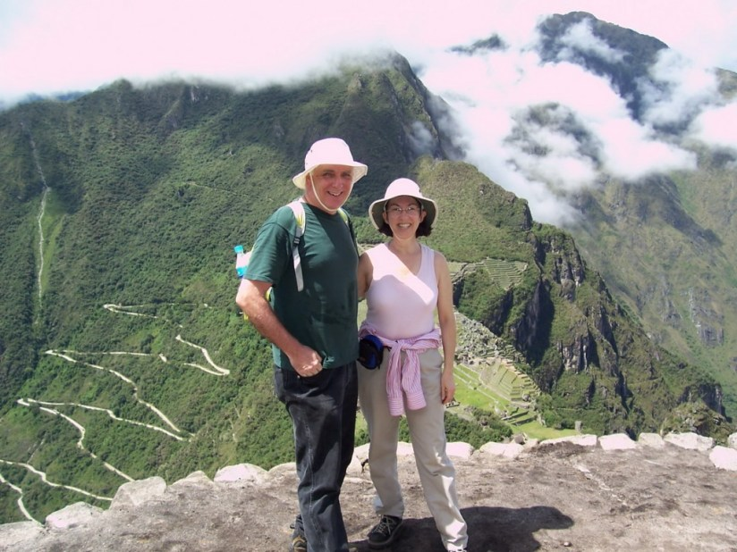 Bob and Jean standing on the summit of Huayna Picchu, at Machu Picchu