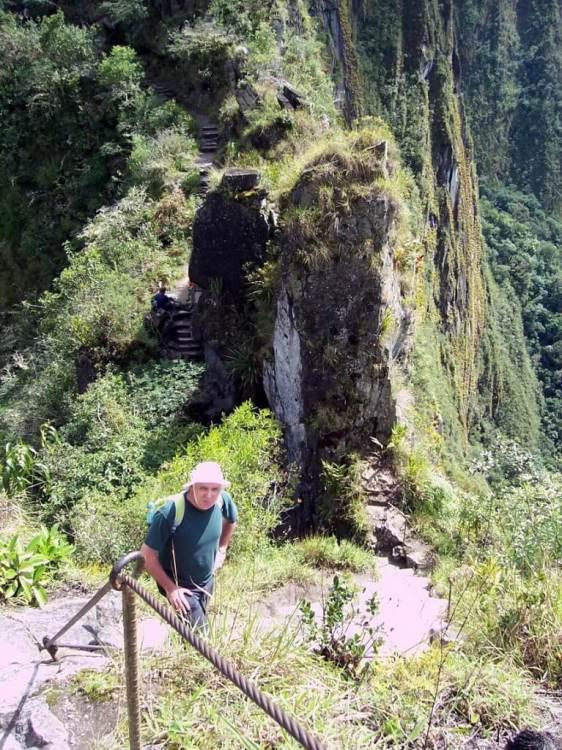 Bob on the hiking trail up Huayna Picchu, at Machu Picchu, Peru