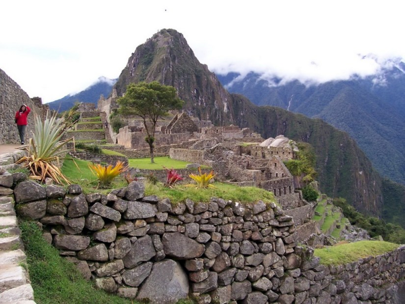 View of Huayna Picchu mountain at Machu Picchu, in Urubamba Province, Peru.